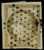 Oblitéré N° 1, 10c Bistre-brun, Obl. étoile, T.B. Signé Calves Et Roumet. - Postzegels