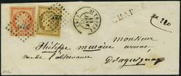 Lettre N° 1 + 5, 10c + 40c Sur Lettre Obl PC 3296 De St Tropez Le 13 Janv 53 Sur Lettre Chargée Pour Draguignan, Arrivée - Postzegels