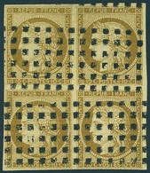 Oblitéré N° 1a, 10c Bistre Brun, Bloc De 4, Gros Points, T.B., Signé Calves + Miro - Postzegels