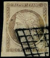 Oblitéré N° 1a, 10c Bistre Brun, Belles Marges Dont 1 Voisin, T.B. Signé - Postzegels
