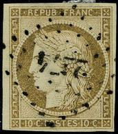Oblitéré N° 1a, 10c Bistre-brun, Obl. Losange Petits Chiffres 2274, T.B. Signé A Brun - Postzegels