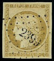 Oblitéré N° 1a, 10c  Bistre Brun Superbe Signé Calves - Postzegels