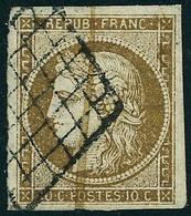 Oblitéré N° 1a, 10c Bistre Brun, Obl Grille + Plume T.B. - Postzegels