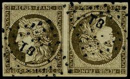 Oblitéré N° 1d, 10c + 10c Bistre Paire Tete Beche Faux Sperati T.B. - Postzegels