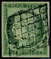 Oblitéré N° 2, 15c Vert Jolies Marges, Superbe Signé Calves - Postzegels