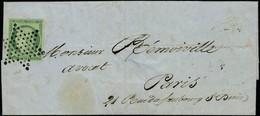 Lettre N° 2, 15c Vert Foncé Obl étoile Sur L + Au Verso Càd 27 Avr 52 Paris 60, Superbe, Certificat Robineau, Maury - Postzegels