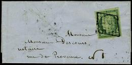 Lettre N° 2, 15c Vert Obl Grille Légèe Sur L Pour Paris, Au Verso Paris 22 Jan 51 + Levée De 8 1/2 Du Soir F T.B. Signé  - Postzegels