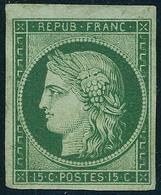 Neuf Sans Gomme N° 2, 15c Vert, Bdf, Superbe, Signé Calves + Certificat - Postzegels