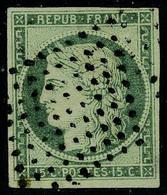 Oblitéré N° 2b, 15c Vert Très Foncé Signé Brun T.B. - Postzegels