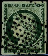 Oblitéré N° 2b, 15c Vert Foncé, Obl Pointillé T.B. Signé - Postzegels