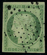 Oblitéré N° 2b, 15c Vert Foncé Obl étoile De Points, T.B. Signé JF Brun - Postzegels
