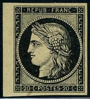 Neuf Avec Charnière N° 3, 20c Noir Sur Jaune, Bdf, TB, Signé - Postzegels