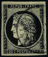 Oblitéré N° 3, 20c Noir Obl Cachet à Date T.B. - Postzegels