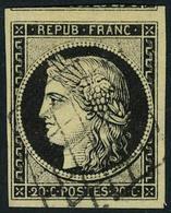 Oblitéré N° 3, 20c Noir Sur Jaune, Belles Marges Dont 1 Voisin, Obl Grille Légère, Superbe - Postzegels