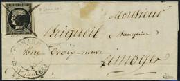 Lettre N° 3, 20c Noir, Oblitération De Fortune + Croix à La Plume Sur Lettre, Grand Cachet Type 13 De St Léonard Du 7 Ja - Postzegels