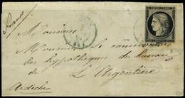 Lettre N° 3, 20c Noir Obl Petit Cachet à Date Bleu Du 3 Jan 1849 (1ère Date D'utilisation 2 Jan) Sur Lettre De Paris à L - Postzegels