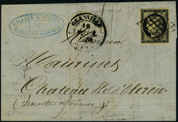 Lettre N° 3, Sur L Obl Grille + Càd Type 13 Granville 18 Février 1850 Pour L Ile D'Oléron, Au Verso Càd Nantes 2 Février - Postzegels
