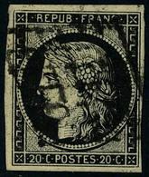 Oblitéré N° 3 + 3a, 20c Noir Sur Jaune Et Noir Sur Blanc, Les Deux T.B. - Postzegels