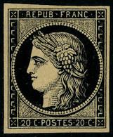 Neuf Sans Gomme N° 3b, 20c Noir Sur Chamois, Essai, T.B. - Postzegels