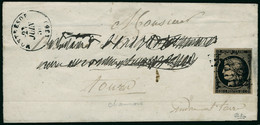 Lettre N° 3c. 20c Noir Sur Chamois Sur L. CàD Montrésor 23 Juin 50, Pour Tours. Au Verso CàD Ligne De Tours 23 Juin 50,  - Postzegels