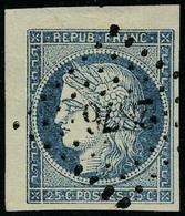 Oblitéré N° 4, 25c Bleu Cdf + 2 Belles Marges Obl Légère Los PC 2876, Luxe, Petite Fente Dans Le Bdf Coin Du Filet - Postzegels