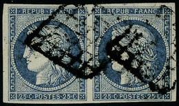 Oblitéré N° 4, 25c Bleu, Paire Hor., T.B. - Postzegels