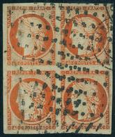 Oblitéré N° 5, 40c Orange, Bloc De 4, Grandes Marges, Obl. Roulette De Gros Points, Superbe, Signé + Certificat Calves - Postzegels