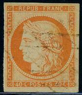 Oblitéré N° 5, 40c Orange, Oblitéré Grille Sans Fin Rouge, TB, Sign + Cert. Brun, Rare - Postzegels