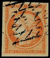 Oblitéré N° 5, 40c Orange Obl Grille Sans Fin Grandes Marges Pièce De Luxe Signé Brun - Postzegels