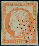 Oblitéré N° 5, 40c Orange, Oblitération Légère, TB, Signé Calves - Postzegels