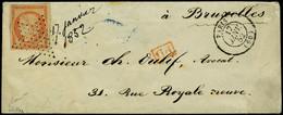 Lettre N° 5, 40c Orange Obl Etoile + Càd 17 Jan 52 Paris Pour Bruxelles, Cachet Arrivée Au Verso T.B. Signé - Postzegels