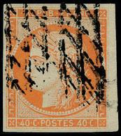 Oblitéré N° 5a, 40c Orange Vif, Obl Grille Sans Fin, T.B. Signé - Postzegels