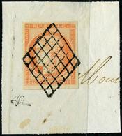 Fragment N° 5a, 40c Orange Vif Obl Sur Grand Fragment, Superbe, Signé Brun - Postzegels