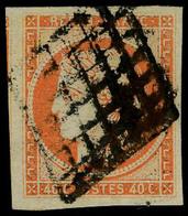 Oblitéré N° 5b, 40c Orange Foncé, 4 Belles Marges Dont 1 Voisin T.B. Signé JF Brun - Postzegels