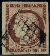 Oblitéré N° 6, 1f Carmin Foncé, TB, Signé A.Brun - Postzegels