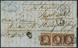 Lettre N° 6, Bande De 3 Du 1f Carmin Obl Sur L. Cette 13 Avr 51 Pour New York Taxe 5 Au Tampon à L'arrivée, Très Jolie P - Postzegels