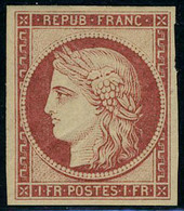 Neuf Avec Charnière N° 6f, 1f Carmin, Réimpression De 1862, TB - Postzegels