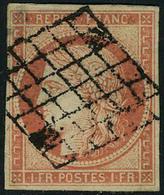 Oblitéré N° 7a,1f Vermillon Vif, P.d., Aspect TB, Signé Champion + Cert. - Postzegels