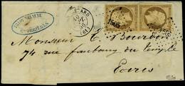 Lettre N° 9, 10c Bistre X 2 Sur L Obl PC 1505 Pour Paris T.B. Signé Calves, Spink-Maury - Postzegels