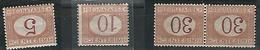 TASAS.- 1870-1903- VALORES 5,50, 30 X2. CIFRAS INVERTIDAS - 1861-78 Victor Emmanuel II