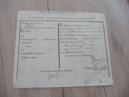 Révolution Militaria Billet D'entrée à L'Hôpital D'Areq 25 Ger AnIII Autographes Ugenaud Viallet Collet - Documentos
