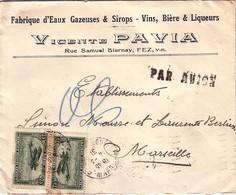 """MAROC - FEZ -  14-3-1931 - LETTRE AVION ENTETE """"FABRIQUE D'EAUX GAZEUSES VINS, BIERE VICENTE PAVIA""""  POUR LA FRANCE - Briefe U. Dokumente"""