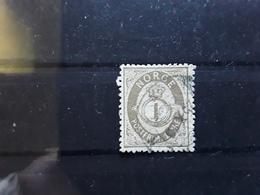 Norge Norvège Norway, 1877, Type Cor De Poste , Yvert No 22  , 1 Ore Gris Olive   , Obl  TB Cote 8 E - Norvège