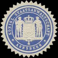 Arnsberg: K. Staatsanwaltschaft Arnsberg Siegelmarke - Cinderellas