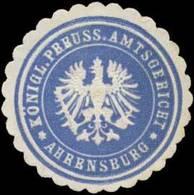Ahrensburg: Königl. Preuss. Amtsgericht Ahrensburg Siegelmarke - Cinderellas