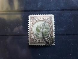 NEDERLAND / Netherlands / Pays Bas 1891 Wilhelmine ,Yvert 46, 1 GULDEN Brun / Olive Obl HILVERSUM TB Cote 25 Euros - Period 1891-1948 (Wilhelmina)