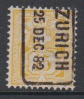 Switzerland 1882 Ziffernmuster 15c White Paper Ca Zurich 25 Dec 82 (42728G) - 1882-1906 Wapenschilden, Staande Helvetia & UPU