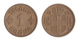 Iceland / 1940 / 1 Krona / KM 3.1 / XF - Islande