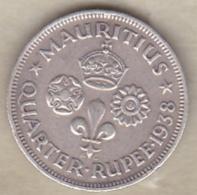 Ile Maurice, ¼ Rupee 1938 , George VI, En Argent - Mauritius