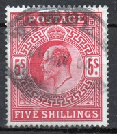 GB Edward VII High Value 5/- Red Stamp From 1902. - Used Stamps